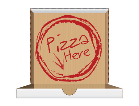 pizza place: Open pizza box with message, vector illustration