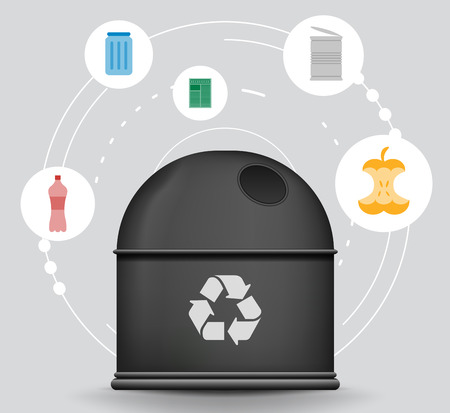 trash container: Recycle infographic with trash container and garbage icons, vector concept