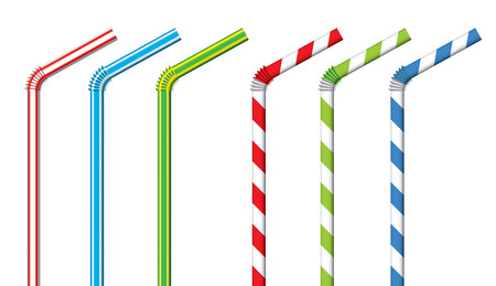 plastic straw: Colorful drinking straws vector set