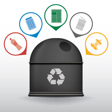 trash container: Recycle trash container with garbage icons, vector set Illustration
