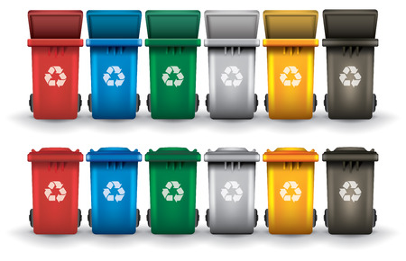 Colorful recycle trash bins open and closed isolated white, vector set Vettoriali