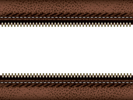 Brown leather with zipper, empty copy space