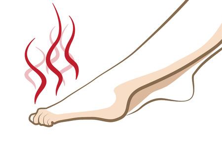 pieds sales: Pieds puants Smelly, notion vecteur cosmétique