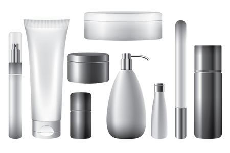 hair mask: Blank cosmetic tubes isolated white, vector objects
