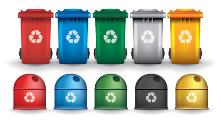 Colorful recycle trash bins and containers, vector set Çizim