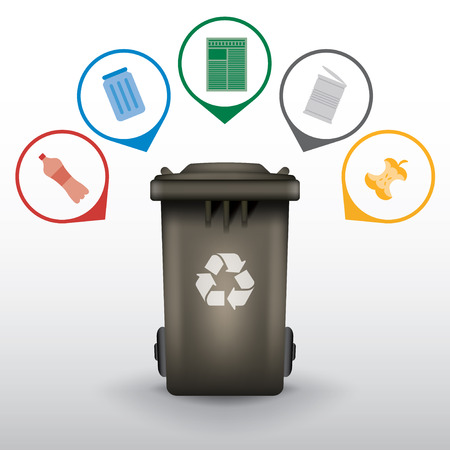 segregate: Recycle trash bin with garbage icons, vector set