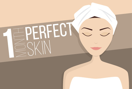 wrinkled face: Perfect skin treatment illustration, beauty vector
