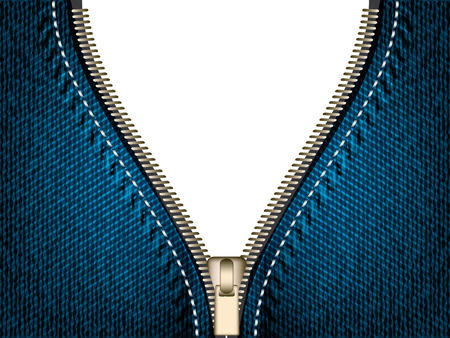 Denim jeans open zipper, vector part of clothes Banco de Imagens - 42062717