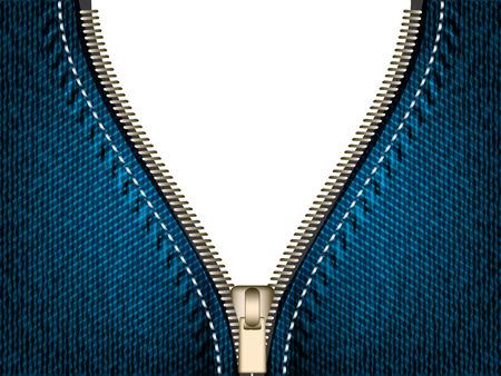 zipper: Denim jeans open zipper, vector part of clothes