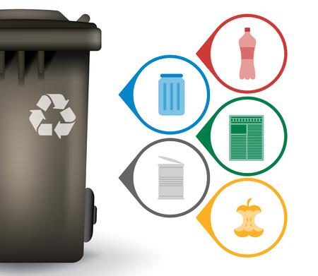 basura: Cubo de basura de reciclaje de basura con iconos, ilustración vectorial Vectores