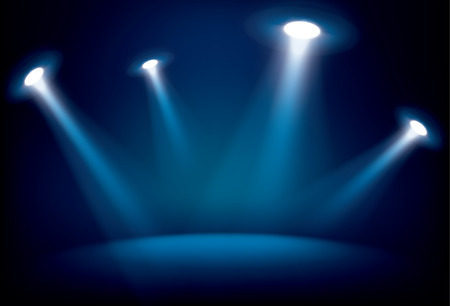 stage lights: Illuminated stage with scenic lights, vector background