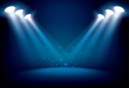Escenario iluminado con luces escénicas, vector de fondo