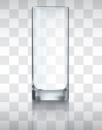 Empty drinking glass, transparent vector Çizim