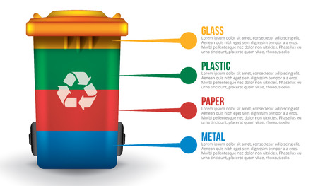 segregate: Recycle infographic with colorful trash bin, vector garbage concept Illustration