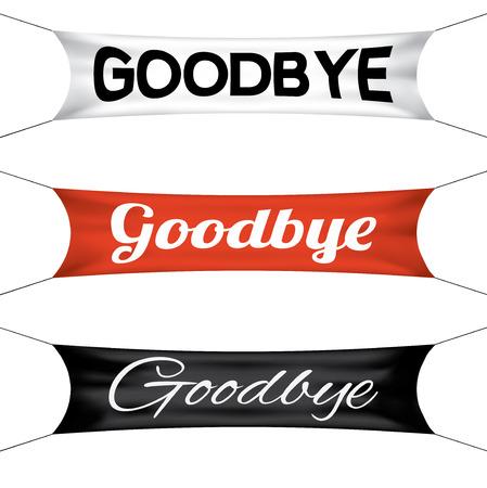 Goodbye banner flag, vector set Vektorové ilustrace