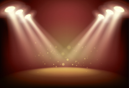 spot clean: Illuminated stage with scenic lights, vector background