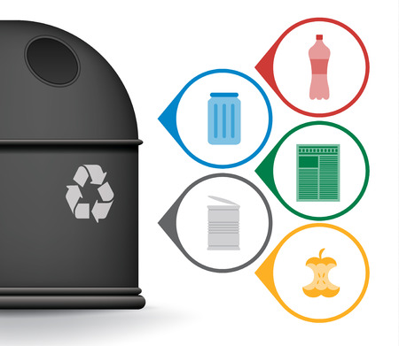 glass paper: Recycle trash container with garbage icons, vector set Illustration