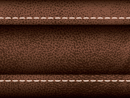 seam: Brown leather vector texture with seam, part of clothes