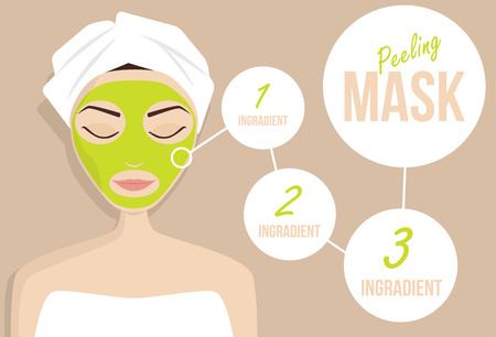 clay mask: Mask for treating skin, vector illustration