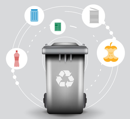 segregation: Recycle infographic with trash bin and garbage icons, vector concept