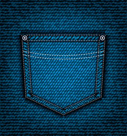 threadbare: Denim jeans pocket, vector part of clothes