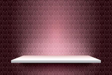 white shelf: Empty white shelf on vintage wall, vector