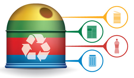 trash container: Recycle infographic with colorful trash container and garbage icons, vector concept