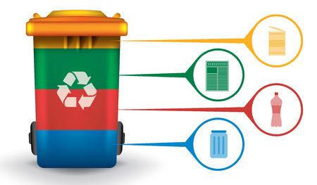 basura: Recicle infografía con coloridos bin basura y basura iconos, vector de concepto