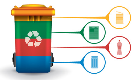 Recycle infographic with colorful trash bin and garbage icons, vector concept