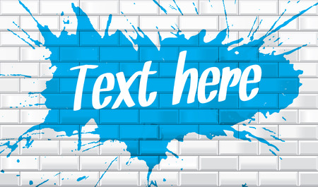 white brick: White brick wall with paint splatter and text wallpaper Illustration