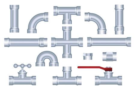 kunststoff rohr: Vector PVC Rohrleitungsbau St�ck Set Illustration
