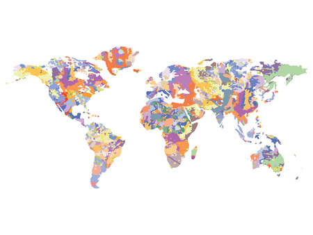 Watercolor map of the world illustration