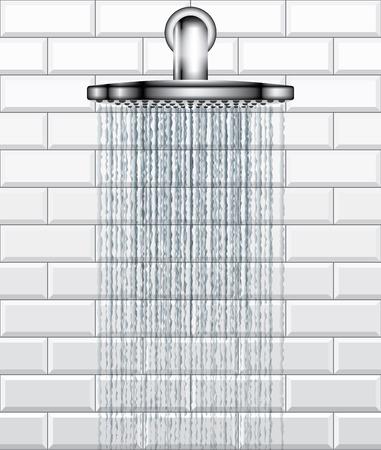 rain shower: Bathroom rain shower on white brick tiles background