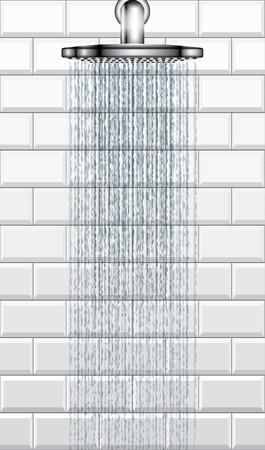 Bathroom rain shower on white brick tiles background