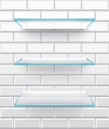 glass shelves: Bathroom glass shelves on white brick tiles background