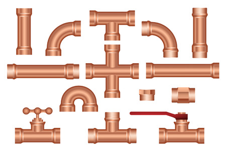 brass pipeline construction pieces set Stock Illustratie