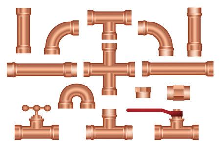 brass pipeline construction pieces set Illustration