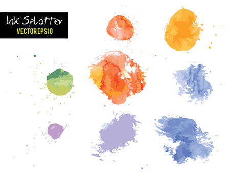 ink blots: Colorful Watercolor or Ink blots splashes illustration