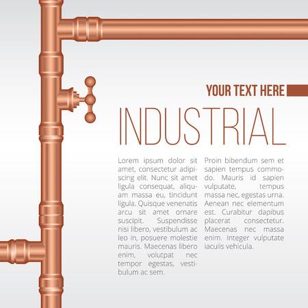 flange: Vector background illustration of brass pipeline construction Illustration