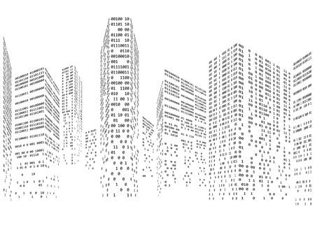 Kod binarny w formie futurystycznego miasta skyline ilustracji