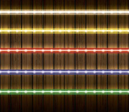 led light: Colorful led light stripes illustration set