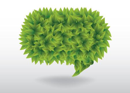 speech bubble: Green leaves speech bubble illustration