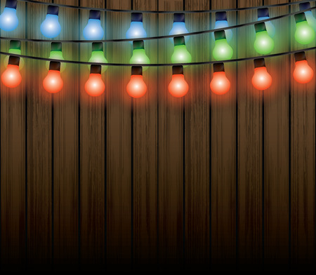luces navidad: Las luces de Navidad con el fondo Vectores