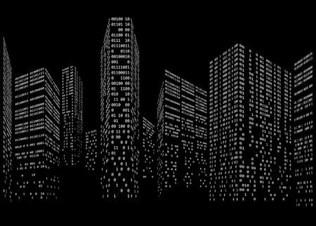 미래형 도시 스카이 라인의 형태로 이진 코드