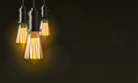 edison: Edison light bulb on dark vector background with copy space