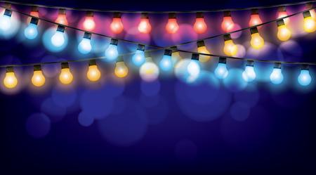 glowing lights: Christmas garlands glowing lights, vector illustration