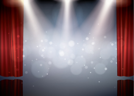 red theater curtain: Theater stage with red curtain and spot light, vector illustration