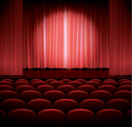 luz focal: Teatro escenario con tel�n rojo y la luz del punto, ilustraci�n vectorial