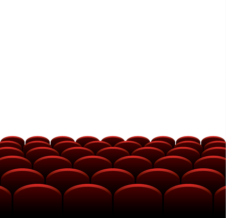 cinema screen: Cinema or theater red seats in front of empty screen, vector background