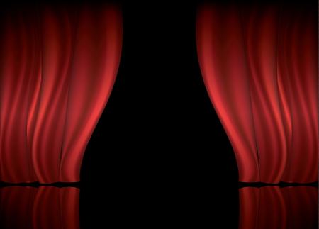 赤いカーテンとコピー スペースのベクトル図と劇場の舞台